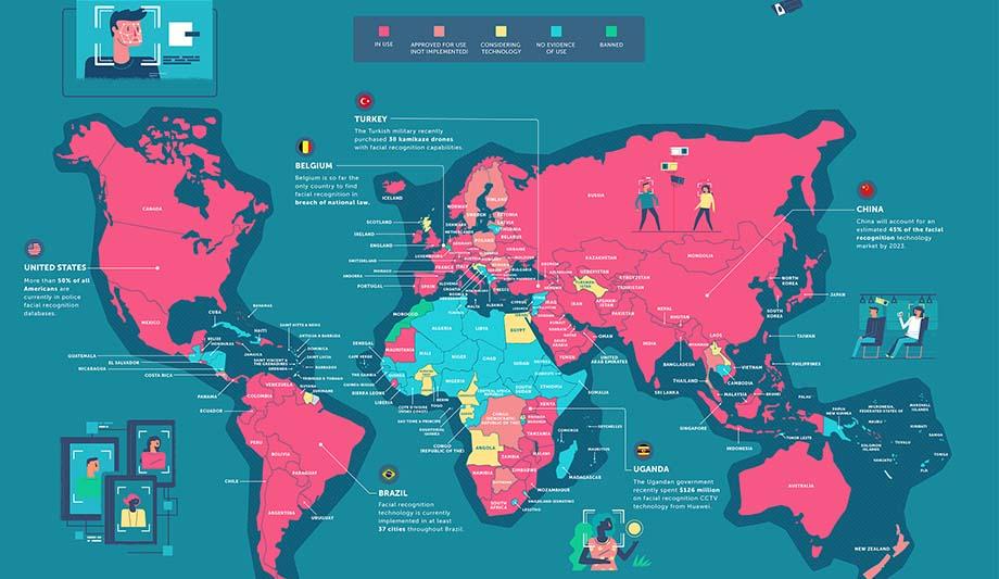 分享 | 全球人脸识别技术应用地区分布图